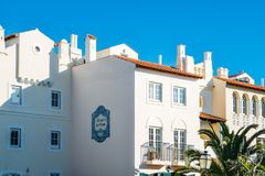 老村庄在阿尔加威,葡萄牙是在18世纪葡萄牙语建立的280物产的一汇集和英语 免版税图库摄影