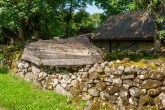 老村庄 Saaremaa海岛,爱沙尼亚 免版税库存图片