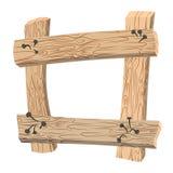 老板条框架  老木板 生锈的钉子曲线和w 免版税图库摄影