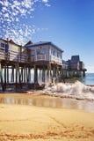 老果树园海滩码头,缅因美国在一个晴天 库存照片