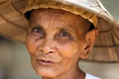 老柬埔寨妇女 图库摄影