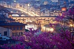 老桥梁佛罗伦萨从上面在夜之前 免版税库存图片