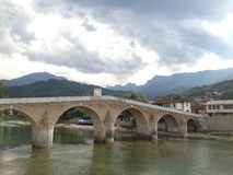 老桥梁在科尼茨,波黑 库存照片