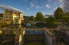 老桥梁在Dornach,索洛图恩 免版税库存照片