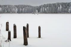 老桥梁的遗骸在湖附近的 库存图片