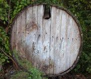 老桶在森林里 免版税图库摄影