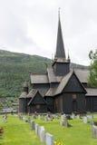 老梯级教会在Lom,挪威 免版税库存图片