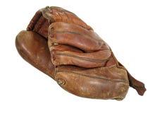 老棒球露指手套 免版税库存图片