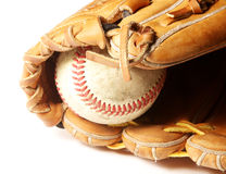 老棒球露指手套 库存照片