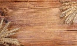 老棕色木委员会有干燥草本背景 免版税库存照片