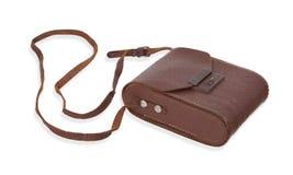 老棕色皮包或盒 免版税库存图片