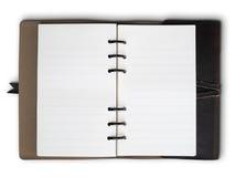 老棕色盖子皮革笔记本 免版税库存照片