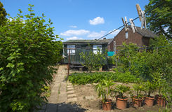 老棚子在一个晴朗的庭院里在春天 免版税图库摄影