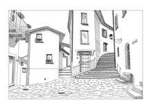 老欧洲城市镇街道手拉的传染媒介剪影  图库摄影