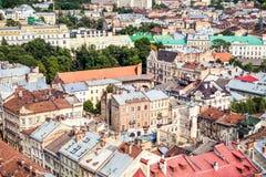 老欧洲城市Lvov的中央部分鸟瞰图  免版税图库摄影