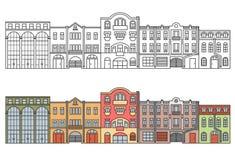 老欧洲市 街道 房子 水平的例证 库存例证