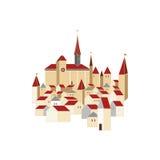 老欧洲城市的全景 免版税库存图片