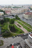 老欧洲城市看法从高度的鸟的飞行 圣彼得堡,俄罗斯,北欧 库存图片