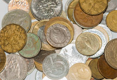 老欧洲硬币 免版税库存图片
