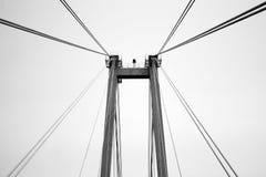老步行桥的缆绳 免版税库存照片