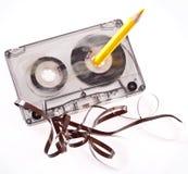 老残破的卡式磁带 库存照片