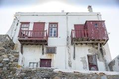 老江边房子米科诺斯岛镇希腊 免版税库存照片