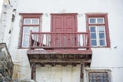 老江边房子米科诺斯岛镇希腊 库存照片
