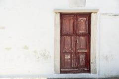 老江边房子门米科诺斯岛镇希腊 库存照片