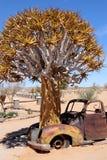老汽车和芦荟-纳米比亚-纳米比亚非洲 免版税库存图片