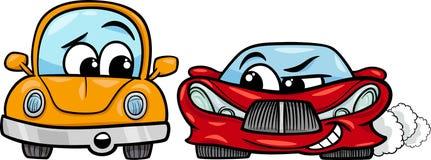 老汽车和跑车动画片 免版税图库摄影