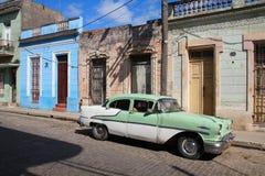 老汽车在古巴 库存照片