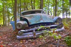 老汽车在森林里 免版税库存图片