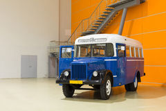 老汽车GZA的展出品在陈列的 免版税库存图片