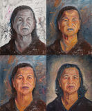 老泰国妇女画象油漆绘画  库存图片