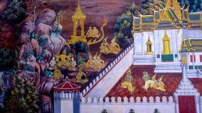 老泰国样式绘画艺术& x28; 1931& x29;在著名曼谷玉佛寺寺庙墙壁上的Ramayana故事在曼谷,泰国 库存图片