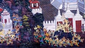 老泰国样式绘画艺术& x28; 1931& x29;在著名曼谷玉佛寺寺庙墙壁上的Ramayana故事在曼谷,泰国 免版税库存图片