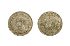 老泰国硬币1铢 库存图片