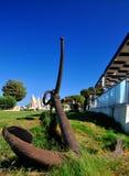 老海军部船锚在罗得岛 库存照片