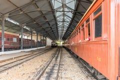 老火车在圣约翰台尔Rey历史市 库存图片
