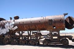 老火车在Uyuni,玻利维亚 库存图片