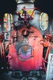 老火车小室蒸汽废物 图库摄影