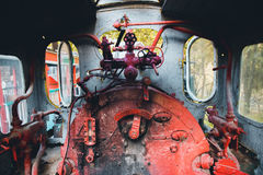 老火车小室蒸汽废物 免版税库存图片