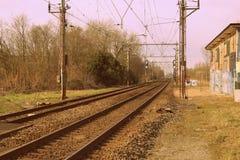 老火车路轨 库存图片