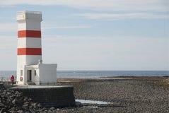 老灯塔在Gardskagi,冰岛 免版税库存图片