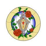 老灯笼的彩色玻璃样式有英国兰开斯特家族族徽的,在belge圆的背景的绿色叶子 向量例证
