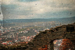 老照片有鸟瞰图城市天界,罗马尼亚3 免版税图库摄影