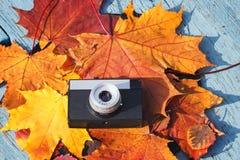 老照相机在五颜六色的秋天地方教育局美好的背景放置  免版税库存图片
