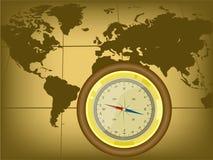 老牌与指南针的世界地图 库存例证