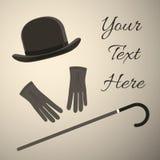老牌人辅助部件,有手套的圆顶硬礼帽 免版税库存图片