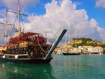 老牌天巡航小船,扎金索斯州,希腊 库存图片